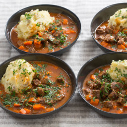 Beef Stew and Cheesy Mashed Potatoeswith Carrots and Thyme