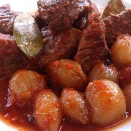 Beef Stifado in the Slow Cooker Recipe
