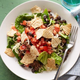 Beef Taco Salad with Chunky Tomato Dressing