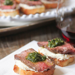 Beef Tenderloin Crostini with Whipped Goat Cheese and Pesto