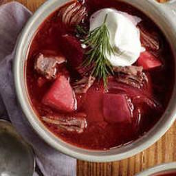 Beefy Pressure Cooker Borscht with Dill Cream