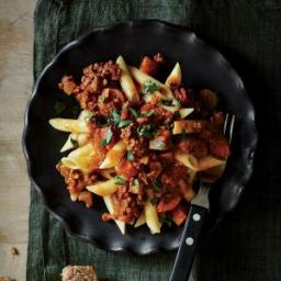 Beefy Bolognese over Penne Pasta