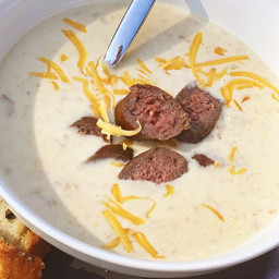 Beer and Smoked Cheddar Cheese Soup with Wagyu Bratwurst