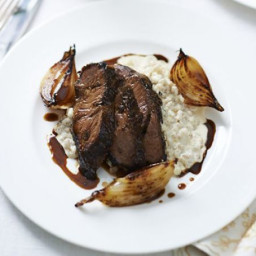 Beer-braised beef cheek, pearl barley risotto, malted onions and ale sauce
