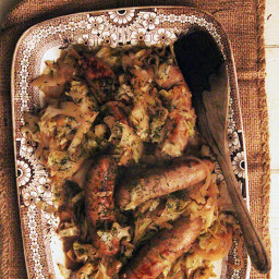Beer Braised Cabbage and Sausage