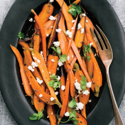 Beer-Braised Carrots with Coriander and Feta