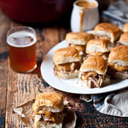 Beer Braised Pulled Pork Sliders with Chipotle Beer Cheese Sauce