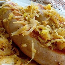 Beer Glazed Brats and Sauerkraut