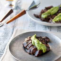 Beer Marinated Flank Steak with Avocado Cilantro Cream Sauce