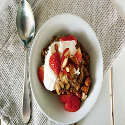 Beer Soup with Strawberries, Whipped Cream and Hazelnuts
