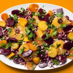 Beet, Orange, Radicchio, and Black Olive Salad
