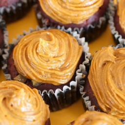 Beet red velvet cupcakes with roasted chestnuts