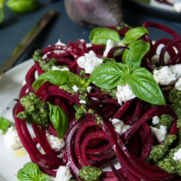 Beetroot Spaghetti with Brazil Nut Pesto and Goats' Cheese