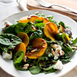 Beets and Goat Cheese on a Bed of Spinach