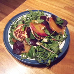 Beets and grilled Haloumi cheese salad
