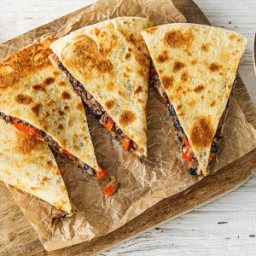 Bell Pepper and Black Bean Quesadillas with an Arugula and Heirloom Tomato