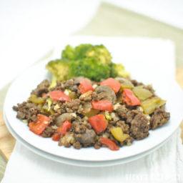 Bell Pepper Mushroom and Ground Beef Skillet