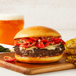 Bellissimo Bruschetta Burgers with Herby Potato Wedges & Parmesan-Roasted A