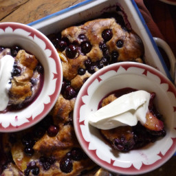 Berry Fruit Cobbler with Fresh Whipped Cream