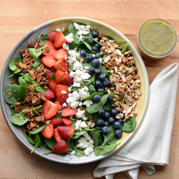Berry Spinach Salad with Citrus Poppy Seed Dressing