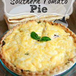 Best Cheesy Tomato Pie with Biscuit Crust (meatless)