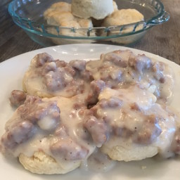 BISCUITS and SAUSAGE COUNTRY GRAVY