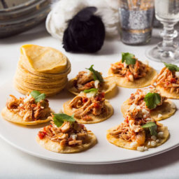Bite-Size Chipotle Chicken Soft Tacos (tinga de pollo)