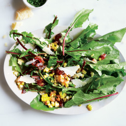 Bitter Greens with Sautéed Corn and Shallots