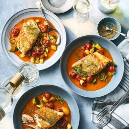Black Bass with Sautéed Vegetables and Cioppino Jus