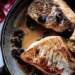 Black Bass with Warm Rosemary-Olive Vinaigrette