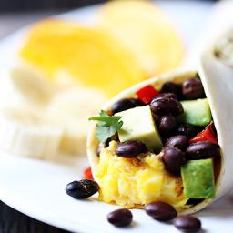 Black Bean and Avocado Breakfast Burritos