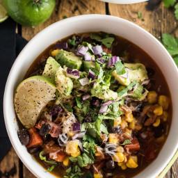 Black Bean and Corn Chilli with Avocado Salsa