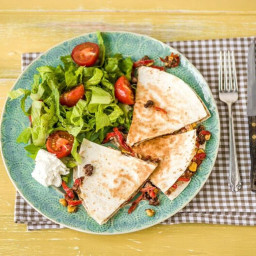 Black Bean & Charred Bell Pepper Quesadillas with Caramelized Onion and Cri