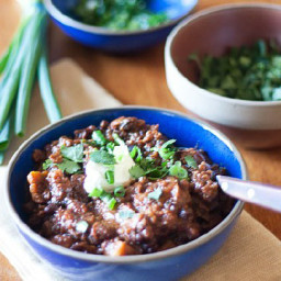 Black Bean, Sweet Potato, and Quinoa Chili