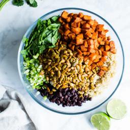 Black Bean Sweet Potato Quinoa Salad with Smoky Pepitas and Roasted Jalapeñ