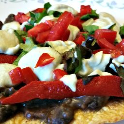 Black Bean Tostadas and Green Chile Sour Cream
