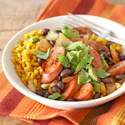 Black Beans and Yellow Rice with Fresh Tomatillo Topping