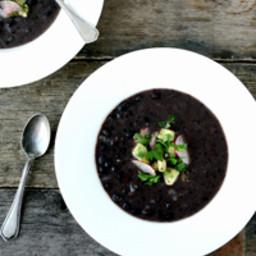 Black-Bean Soup with Avocado Salsa