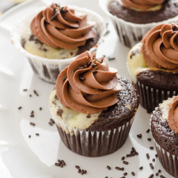 Black Bottom Cupcakes with Salted Chocolate Buttercream