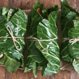 Black-Eyed Pea Collard Wraps With Pickled Vegetables and Ginger-Peanut Sauc