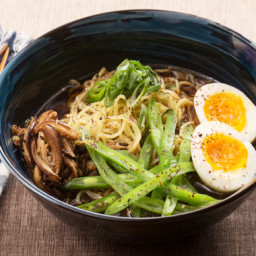 Black Garlic-Shoyu Ramenwith Green Beans and Shiitake Mushrooms
