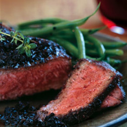 Black-Pepper-Crusted Wagyu New York Steaks with Black Truffle Vinaigrette r