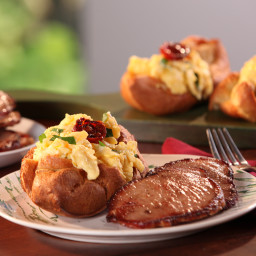 Black Pepper Popovers filled with Vermont Cheddar and Herb Scrambled Eggs a