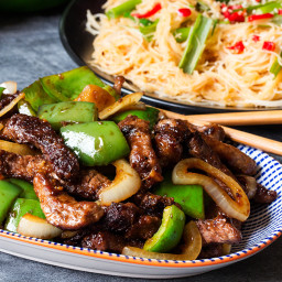 Black Pepper Steak with Chilli Lime Noodles