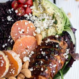Black Rice Salad Bowls with Chipotle Orange Chicken, Cashews + Feta.