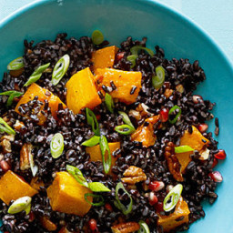 Black Rice Salad with Butternut Squash and Pomegranate Seeds
