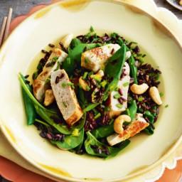Black rice salad with pork and cashews