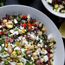 Black Rice Tabbouleh with Chickpeas Feta and Pistachios