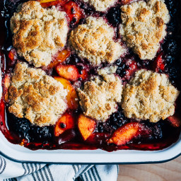 Blackberry Peach Cobbler with Buttermilk Whipped Cream