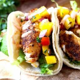 Blackened Fish Tacos with Mango Salsa & Sriracha Aioli